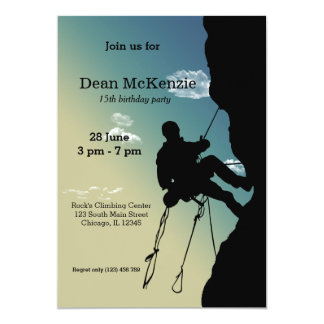Rock Climber Birthday Cards Invitations Zazzlecouk - Birthday party invitations rock climbing