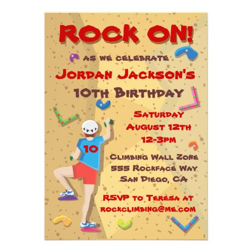 Rock Climbing Party Invitations