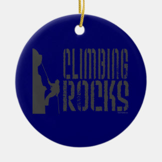Rock Climbing Round Ceramic Decoration