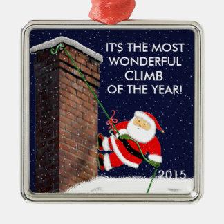 Rock Climbing Santa Christmas Ornament