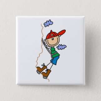Rock Climbing Stick Figure 15 Cm Square Badge