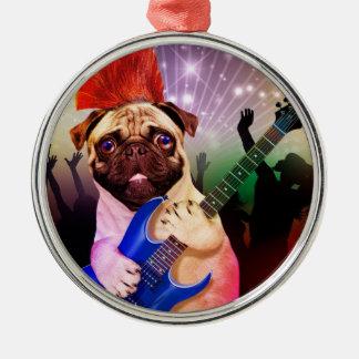 Rock dog - pug party - pug guitar - dog rocker christmas ornament