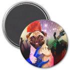 Rock dog - pug party - pug guitar - dog rocker magnet