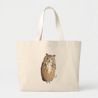 Rock eagle owl large tote bag