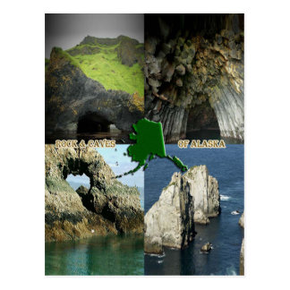 Rock Formations and Caves in Alaska Collage Postcard