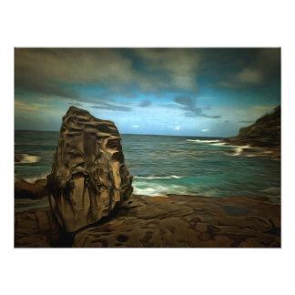 Rock guarding a dangerous place photo print