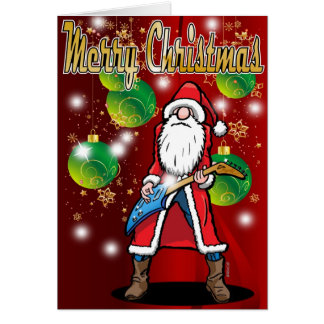 Rock Guitar Santa Merry Christmas Card