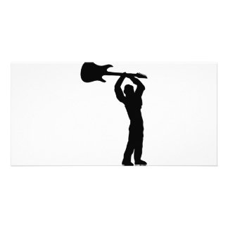 rock guitar smasher photo greeting card