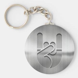 Rock Hand Steel Basic Round Button Key Ring