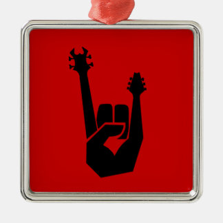 Rock hand symbol Silver-Colored square decoration