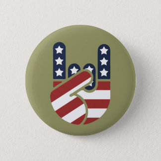 Rock Hand USA 6 Cm Round Badge