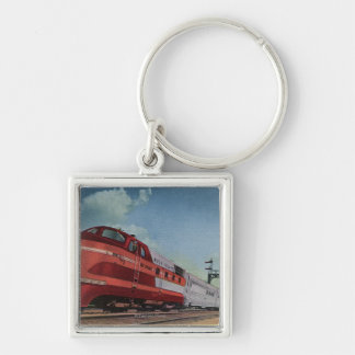 Rock Island RocketStreamlined Train Silver-Colored Square Key Ring