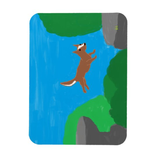 rock jumping dog magnet