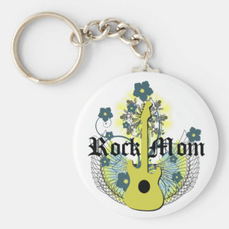 Rock Mom Basic Round Button Key Ring