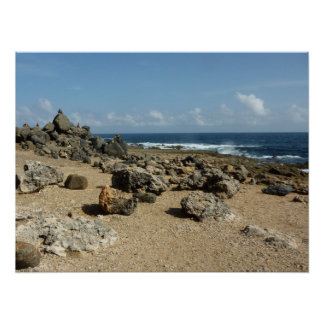 Rock Monuments on Aruban Coast Poster