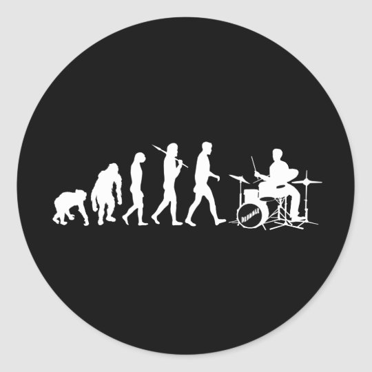 Rock Music Drummer and Jazz Dubstep Drums Classic Round Sticker