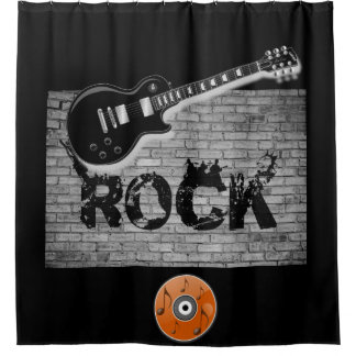 Rock Music guitar black showercurtain Shower Curtain