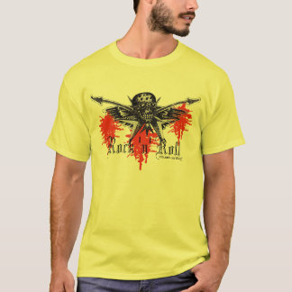 Rock music skull and guitars graphic art t-shirt
