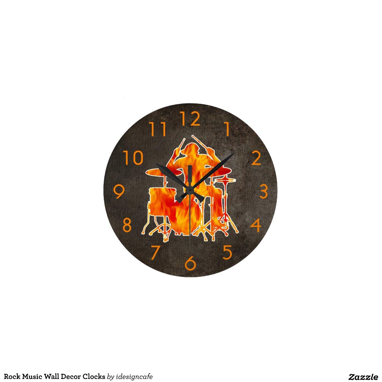 Wall Of Clocks Decor : Rock music wall decor clocks zazzle