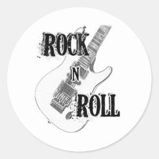 rock n roll guitar round sticker
