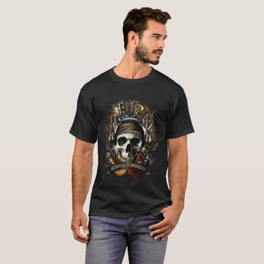 Rock N Roll, Guitar Skull, Headphones Deadhead, T-Shirt