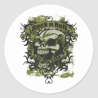 Rock n Roll is my Life Skull Classic Round Sticker