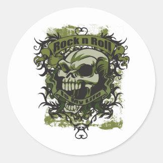Rock n Roll is my Life Skull Round Sticker