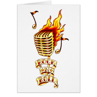 Rock N' Roll Microphone Greeting Card