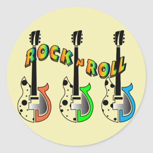 Rock N Roll Neon Electric Guitar Music Round Stickers