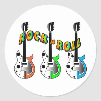 Rock N Roll Neon Electric Guitar Music Classic Round Sticker