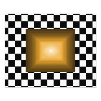 Rock n Roll Retro Gold Hipster B/W Checkerboard Flyers