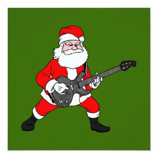 Rock N Roll Santa Claus 13 Cm X 13 Cm Square Invitation Card