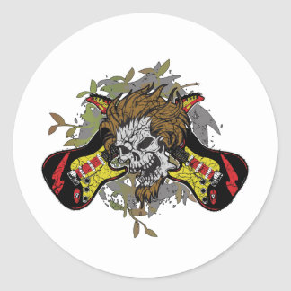 Rock n Roll Skull Classic Round Sticker