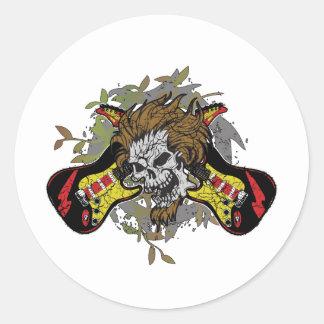 Rock n Roll Skull Round Sticker