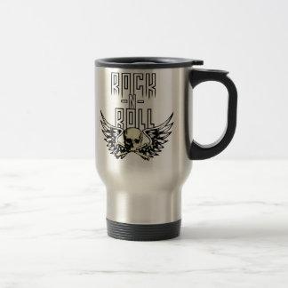 Rock n Roll Skull With Wings 15 Oz Stainless Steel Travel Mug