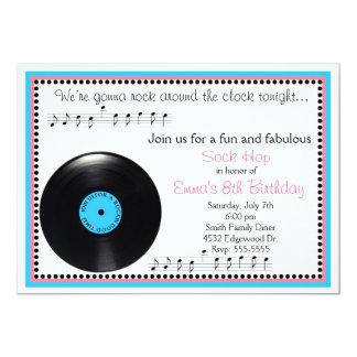 "Rock N Roll Sock Hop 1950's Birthday Invitation 5"" X 7"" Invitation Card"