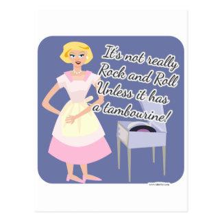 Rock n Roll Tambourine 50 s Housewife Postcards