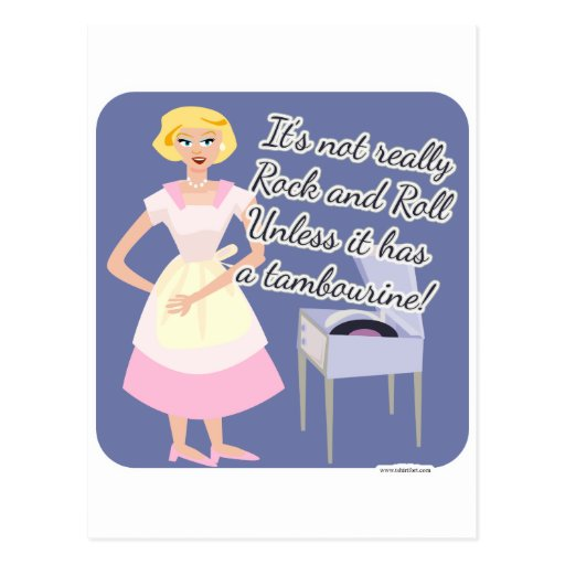 Rock n Roll Tambourine 50's Housewife Postcards