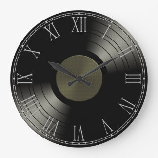 Rock n Roll Vinyl Record Album Large Clock
