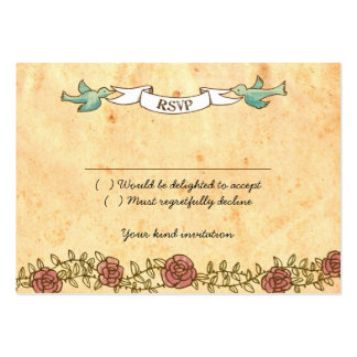 Rock 'n' Roll Wedding (Roses) RSVP Card Pack Of Chubby Business Cards