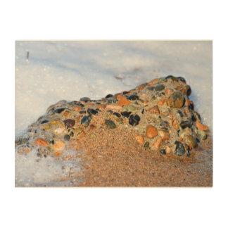 ROCK ON BEACH QUEENSLAND AUSTRALIA WOOD PRINT