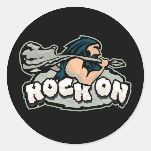Rock On Caveman Round Sticker