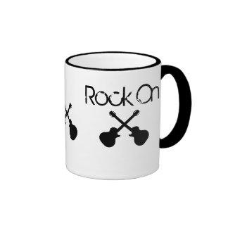Rock On, crossed black guitars Ringer Mug