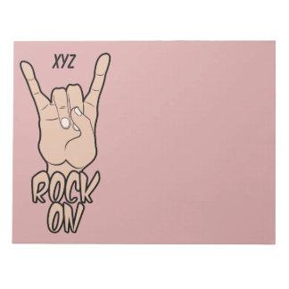 ROCK ON custom color & monogram notepad