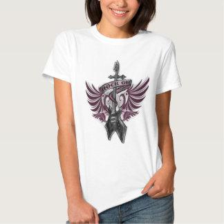 rock on, electric guitar, wings, cross, ribbon t shirt
