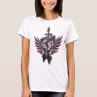rock on, electric guitar, wings, cross, ribbon T-Shirt