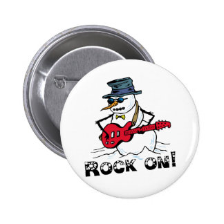 Rock On Guitar Playing Snowman 6 Cm Round Badge