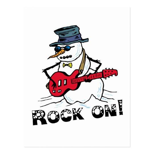 Rock On Guitar Playing Snowman Postcard