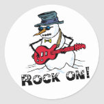 Rock On Guitar Playing Snowman Classic Round Sticker