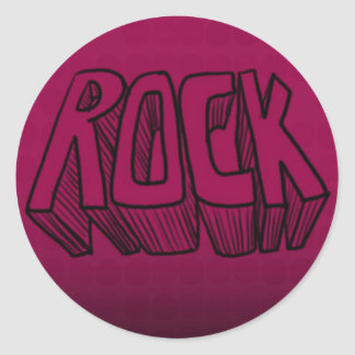 Rock on Maroon Background Classic Round Sticker